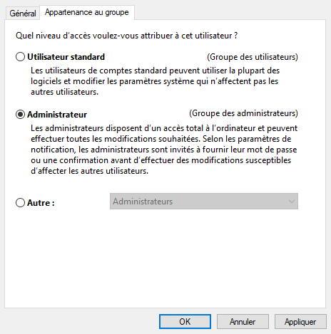 Windows 10 changer type utilisateur