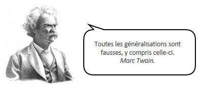 Mark Twain contre les généralisations, citation dans un phylactère.