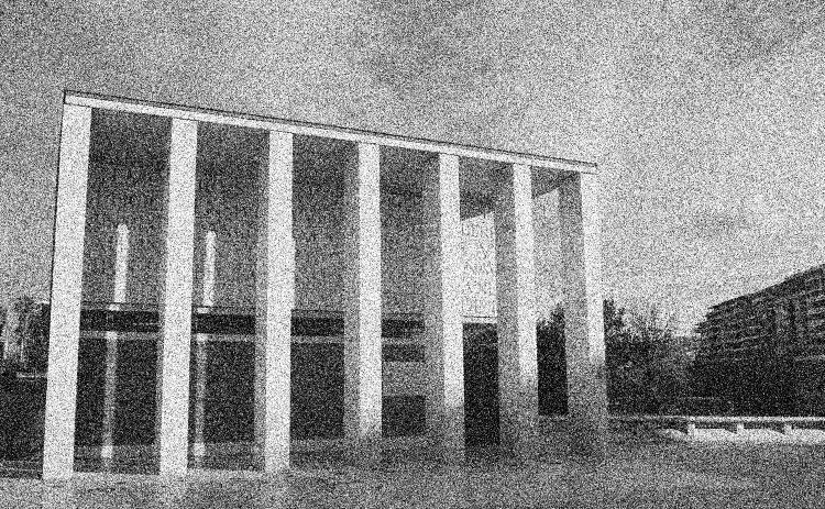 Monument noir et blanc granuleux