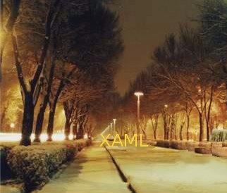 Une route éclairée dans la nuit avec le mot XAML au bout